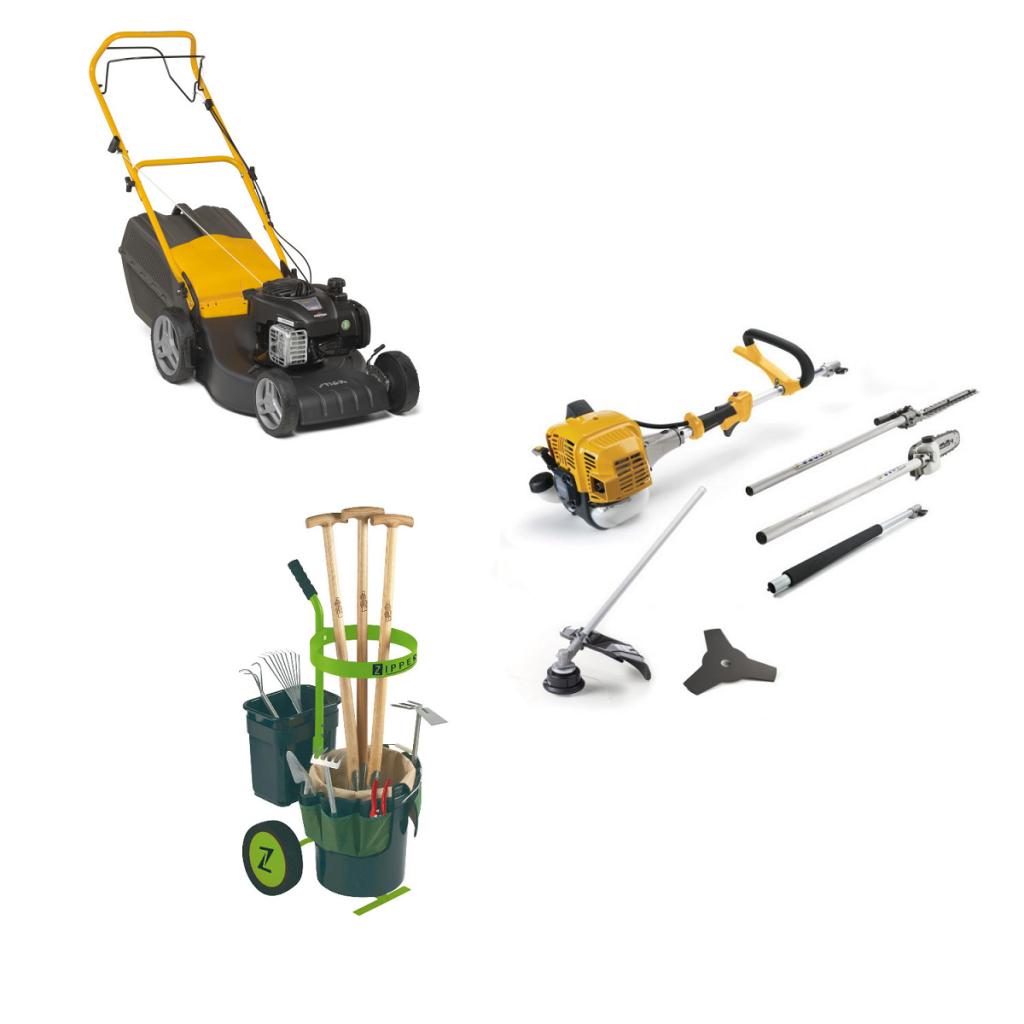 Gartenpflegeset STIGA Rasenmäher, Multitool, Gartenwagen